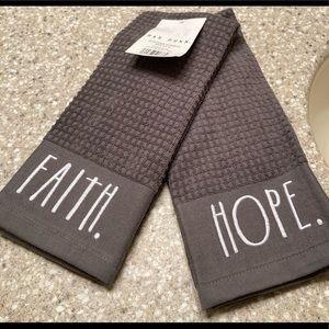 NWT Kitchen Towels (Set of 2) Rae Dunn; FAITH/HOPE